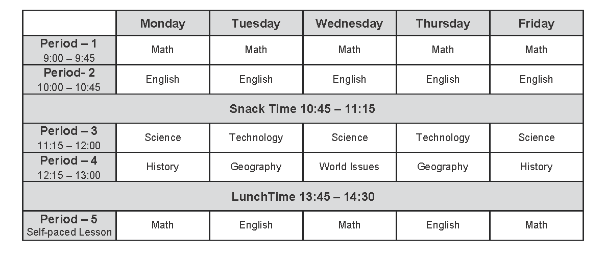 Middle School _ Semester 1 _ 2020-2021
